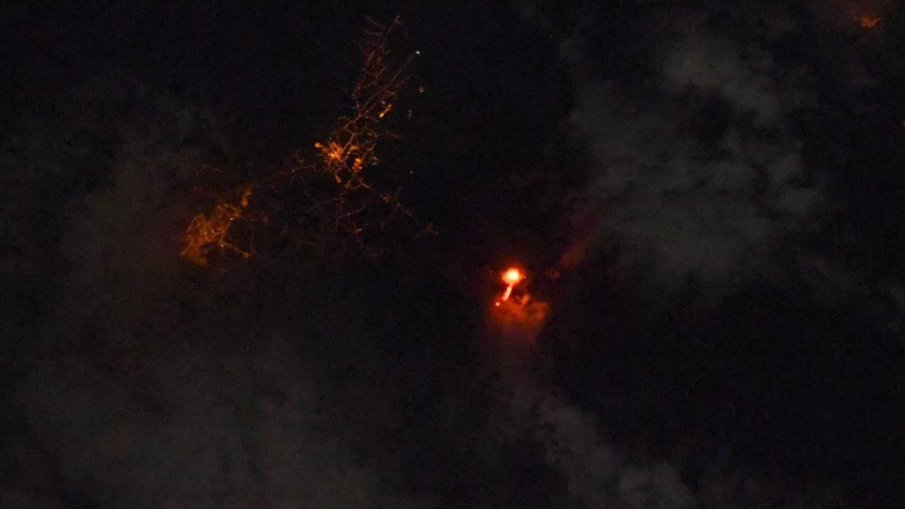 Astronauta registra erupção do vulcão de La Palma vista do Espaço