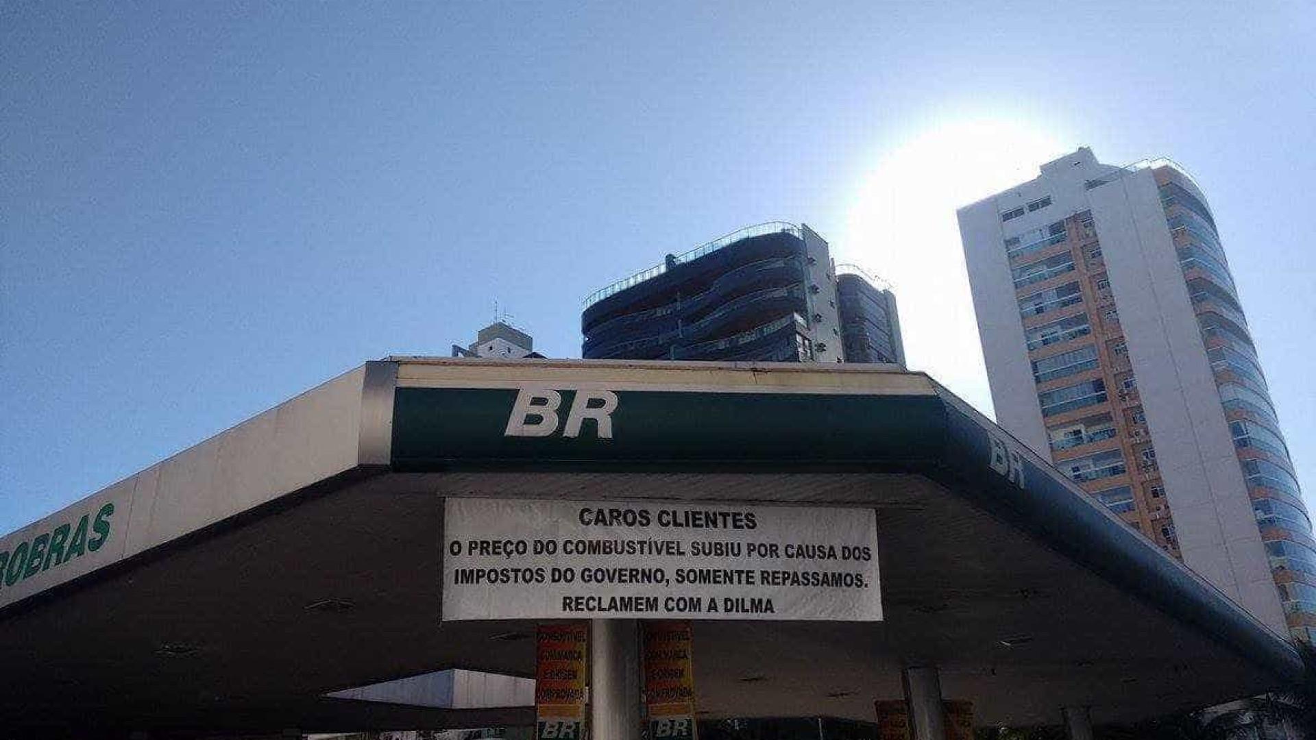 'Reclamem com a Dilma', sugere placa em posto de combustíveis no ES