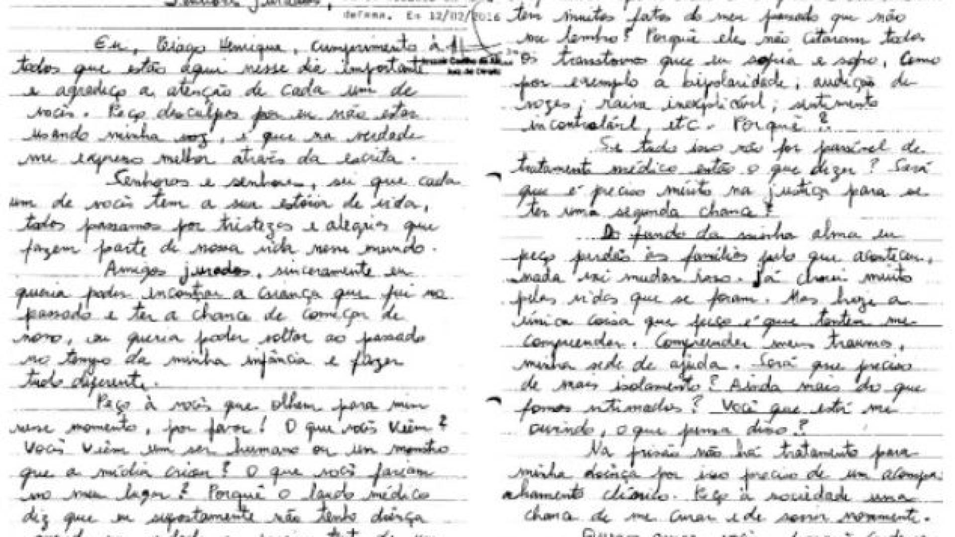 Autor de 35 homicídios escreve carta a jurados de júri popular