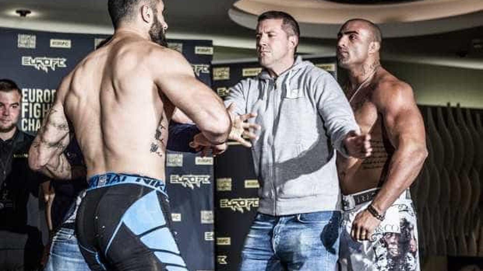 Brasileiro troca chutes com sueco em  pesagem de MMA; assista