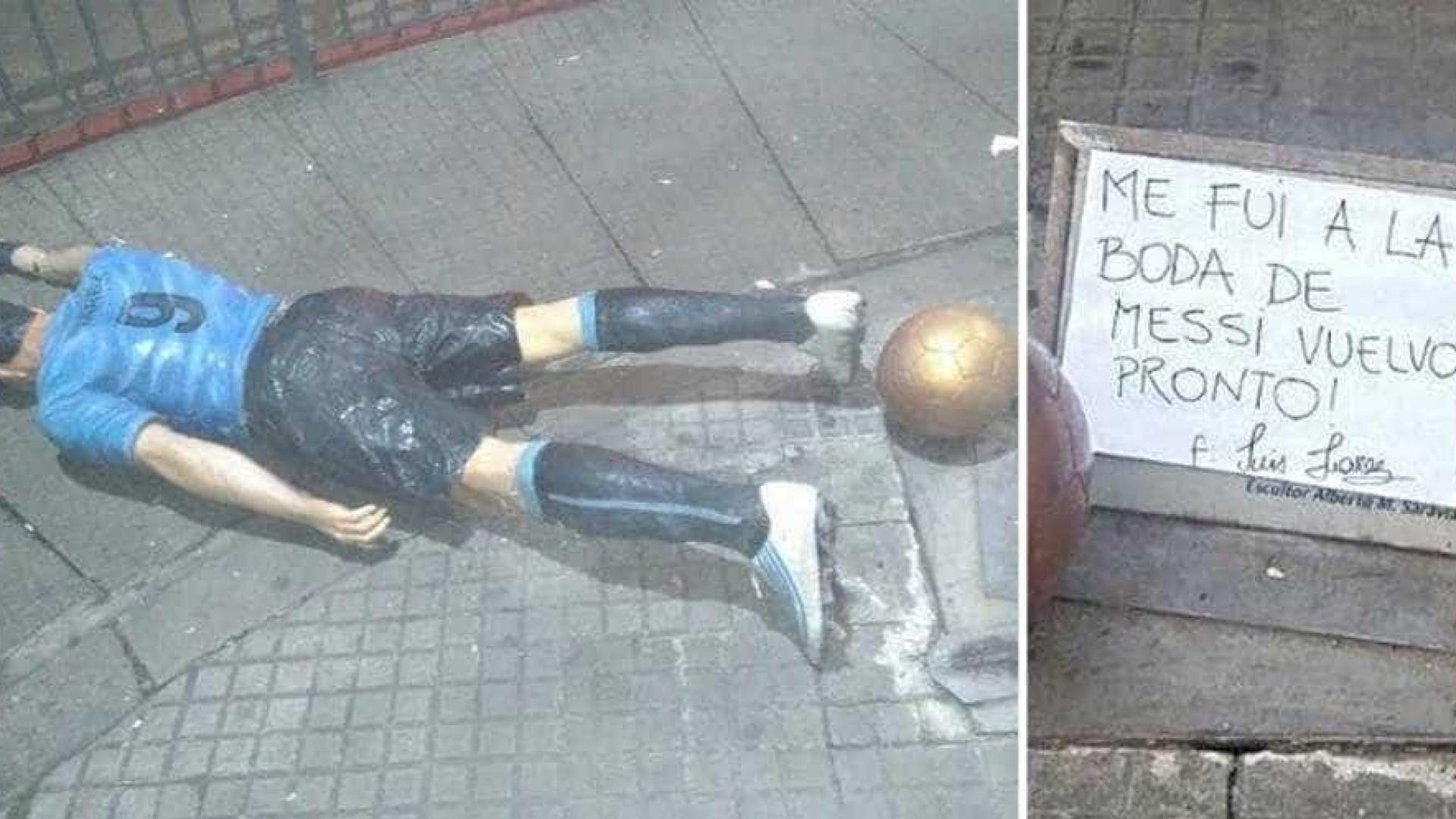 Estátua de Suárez é quebrada por jogador ter ido a casamento de Messi