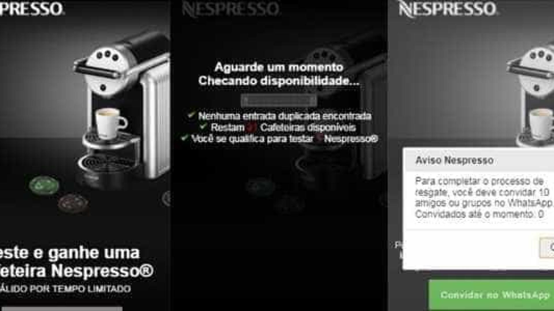 Novo golpe no WhatsApp oferece máquina de café da Nespresso