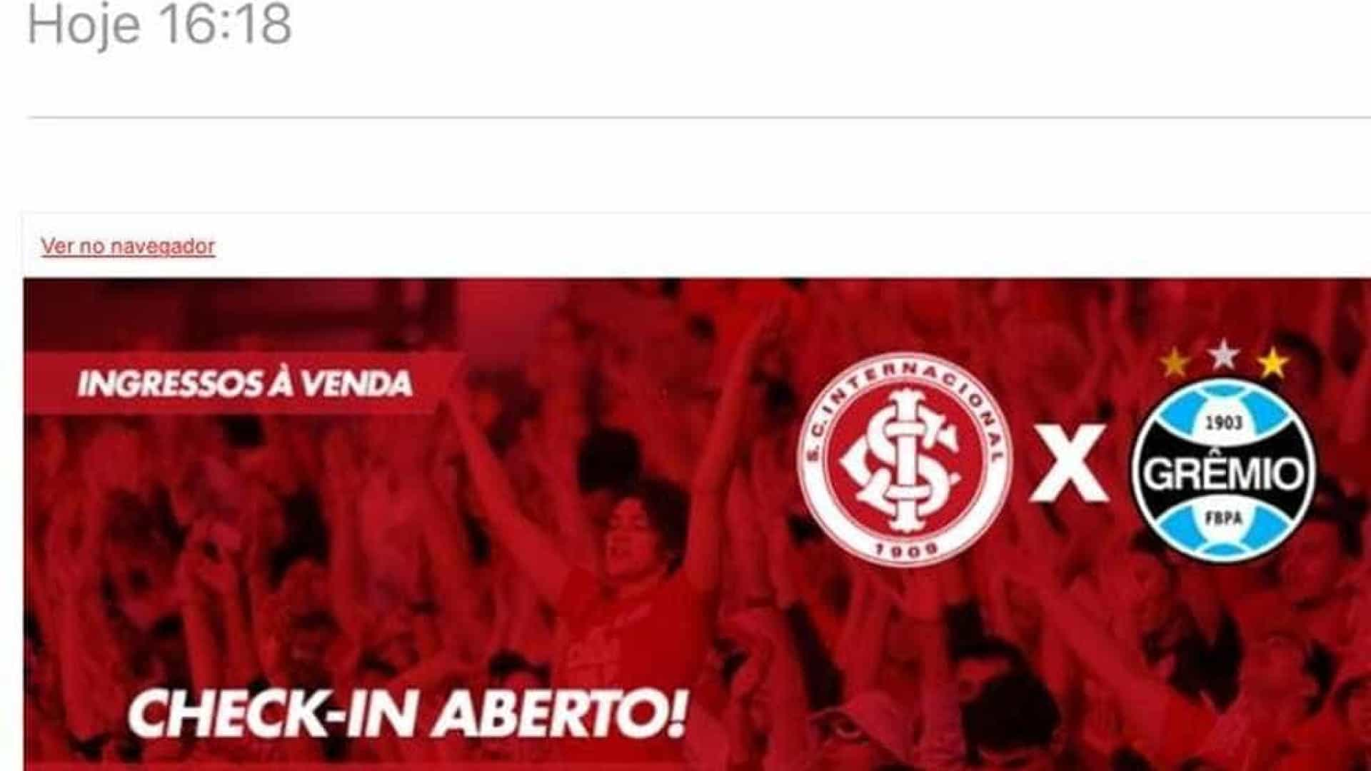Email com trecho do hino do Grêmio causa polêmica no Inter