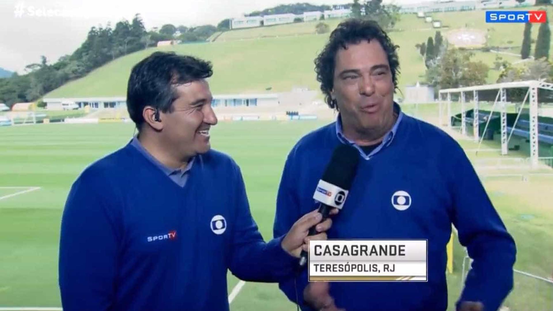 Após 'soneca' ao vivo, Casagrande brinca com repórter: 'Me dá um toque'