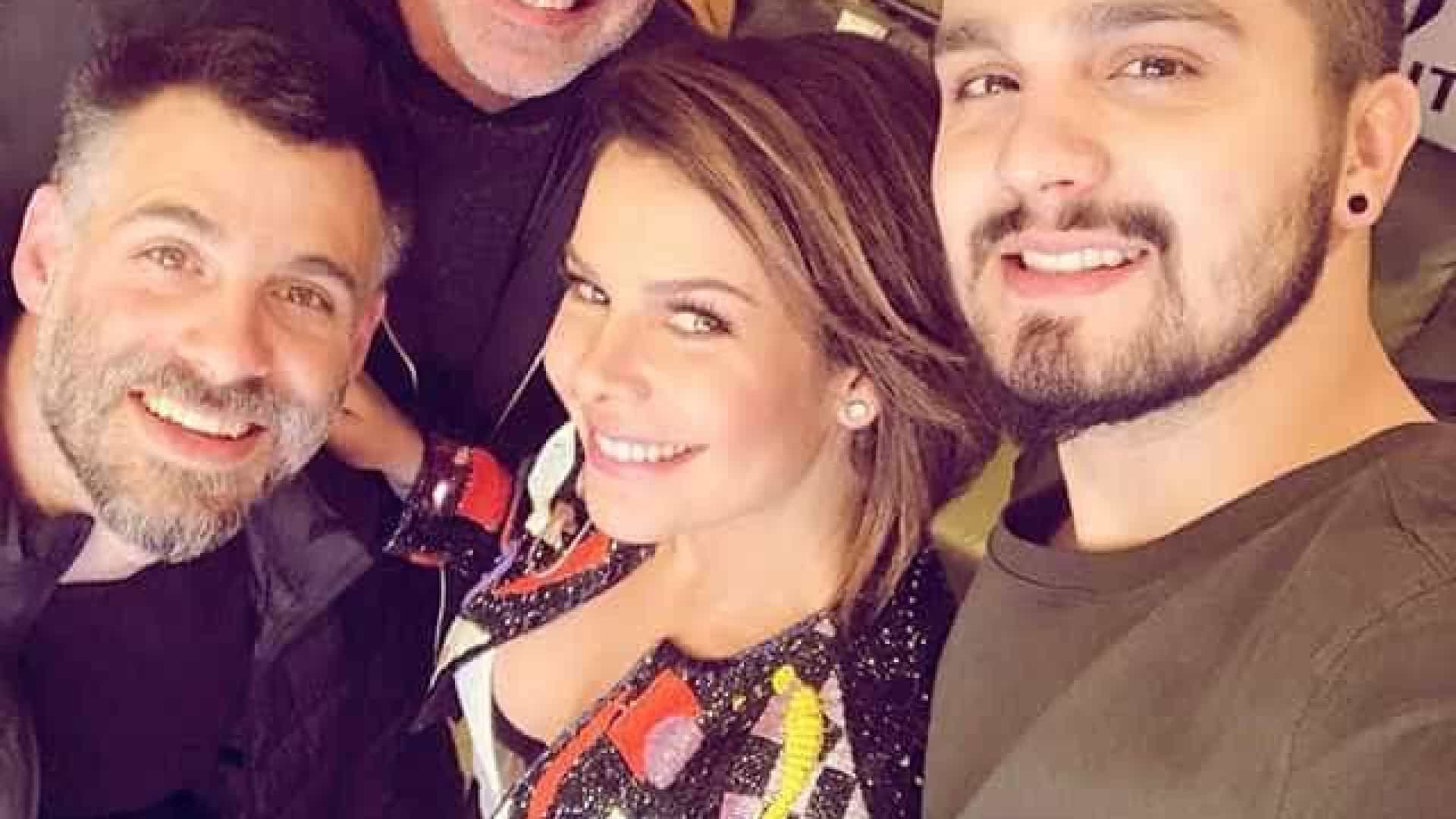 Fernanda Souza comemora gravação de programa com Luan Santana