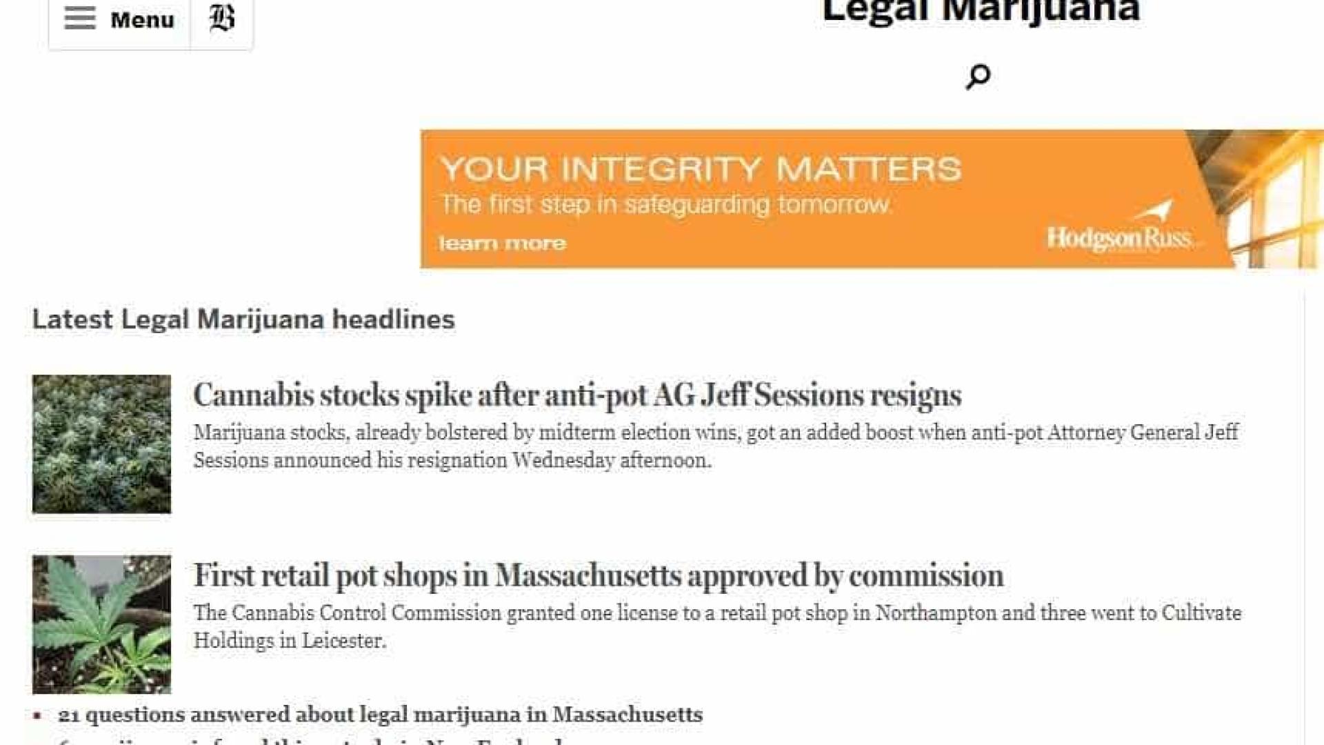 Às vésperas de venda legal, 'Boston Globe' inaugura seção sobre maconha