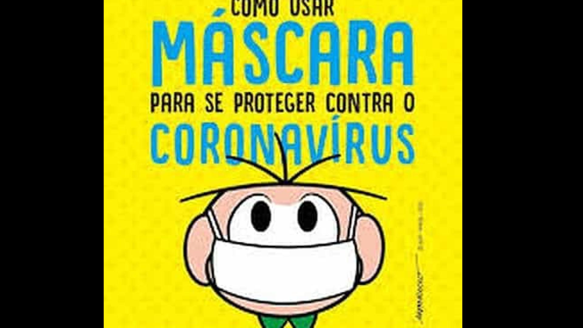 Cartilha da Turma da Mônica traz informações sobre uso de máscaras