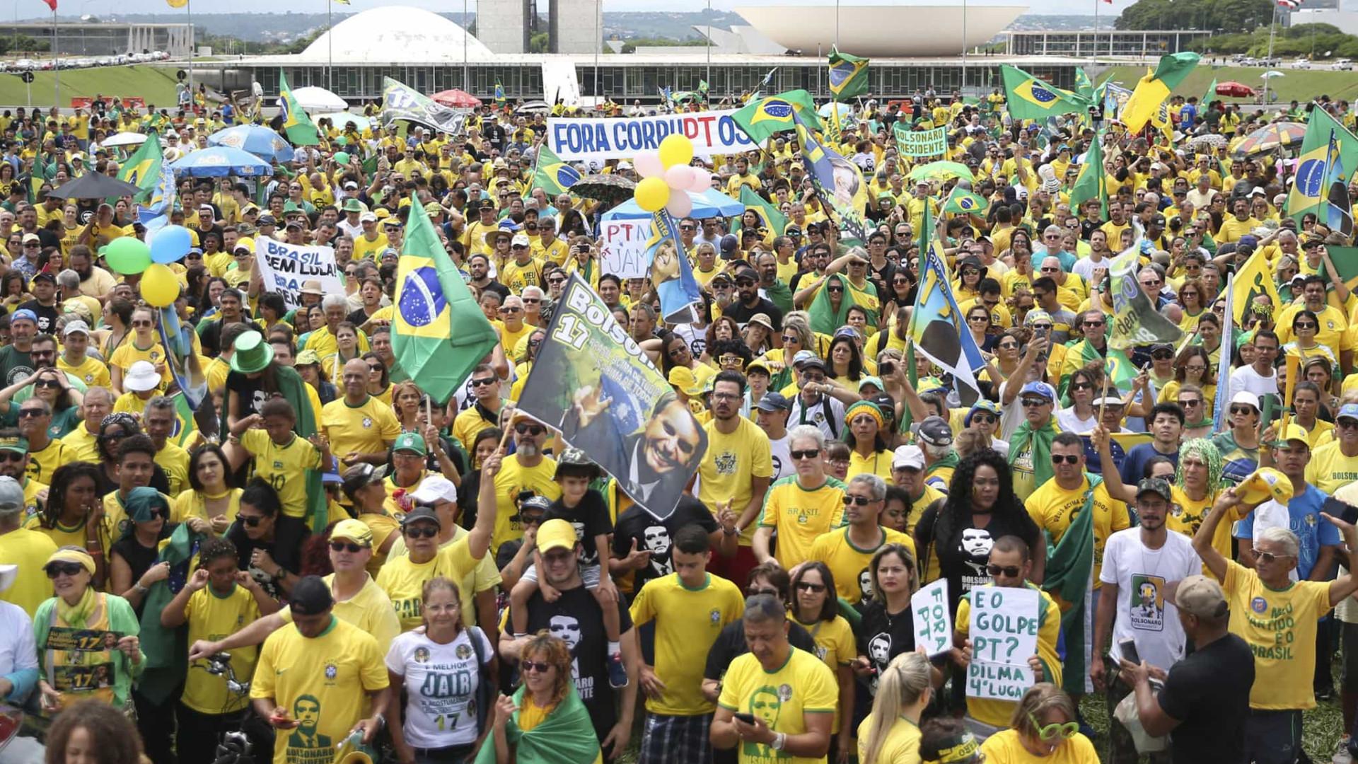 Ato pró-Bolsonaro tem manifestantes sem máscara