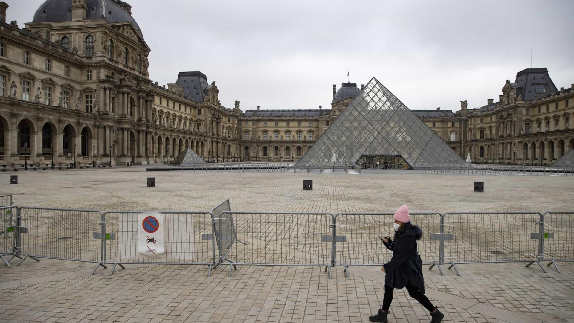 Museu do Louvre com queda de 72% de visitantes em 2020 devido á pandemia