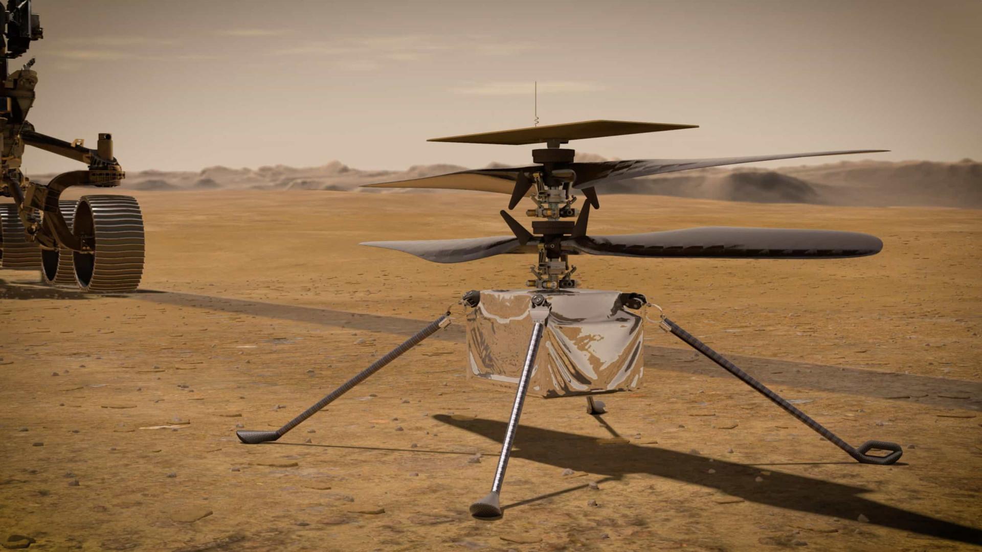 Helicóptero Ingenuity sobrevive à primeira noite sozinho em Marte