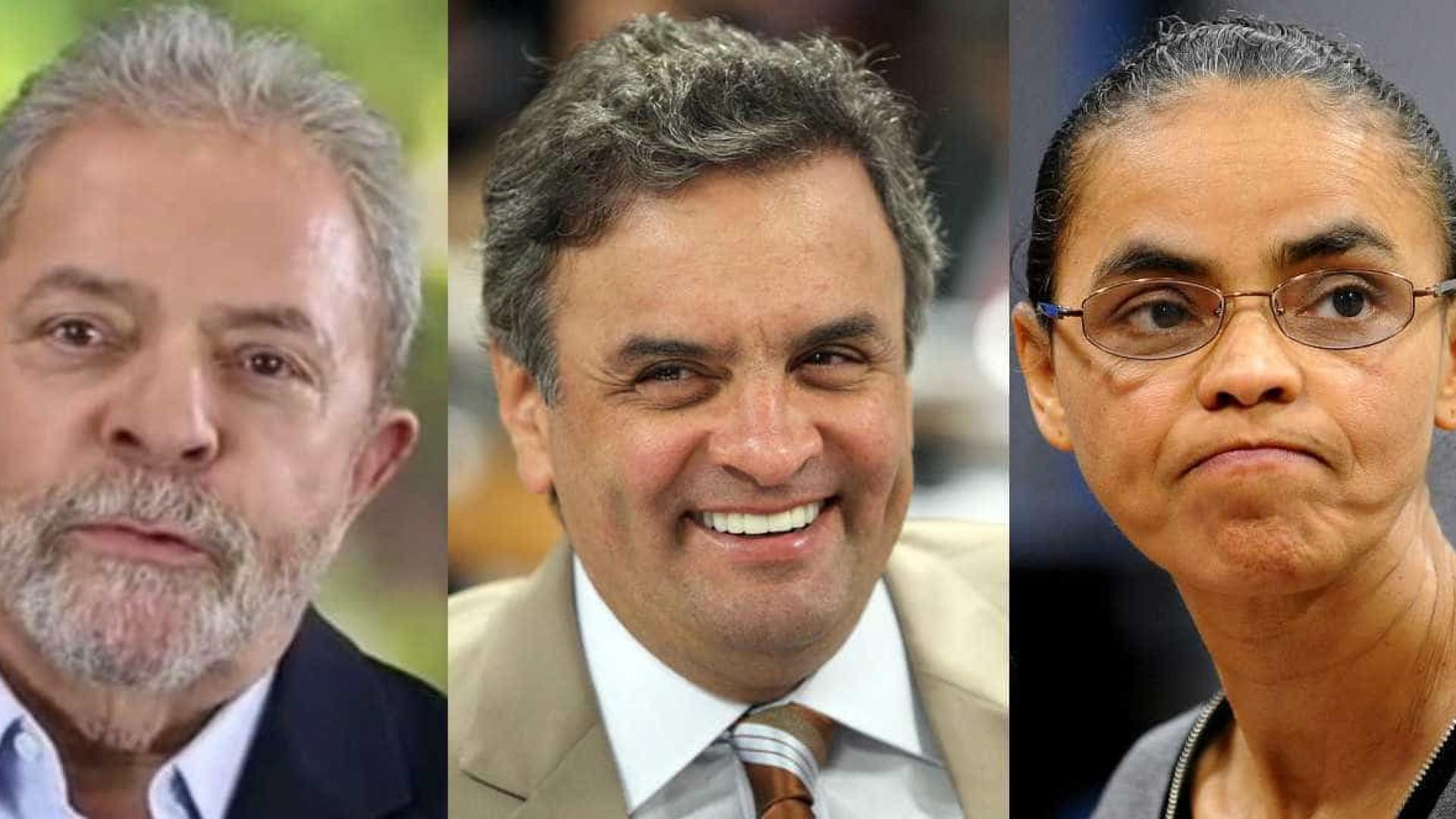 Pesquisa para presidência mostra Aécio com 26%, Lula, 20% e Marina, 19%