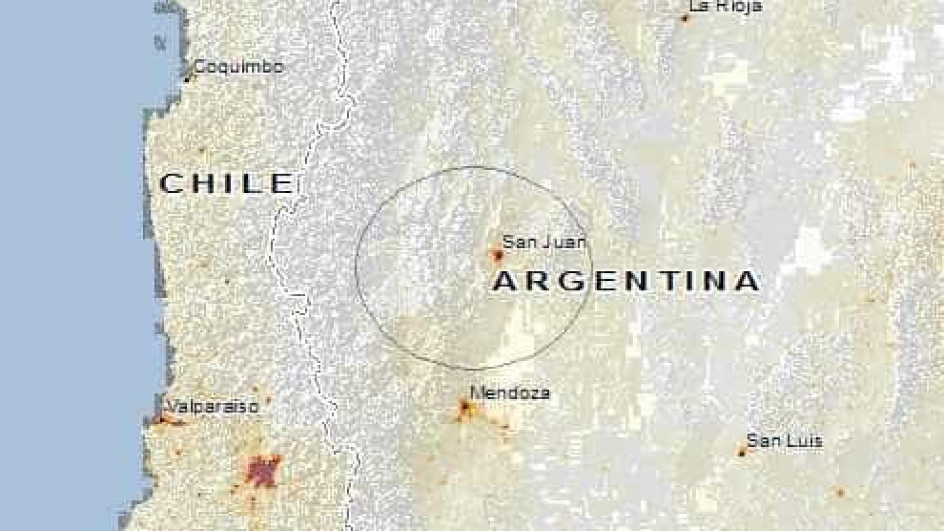 Terremoto de 6.4 graus atinge fronteira da Argentina com o Chile