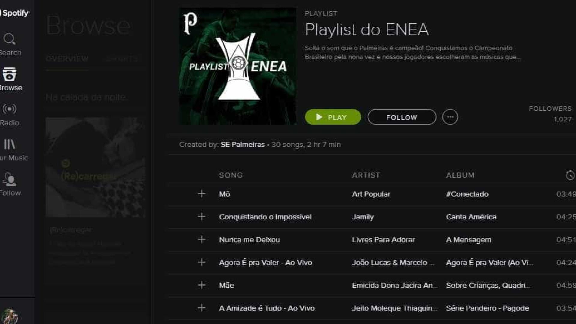 Palmeiras lança playlist no Spotify para comemorar título brasileiro