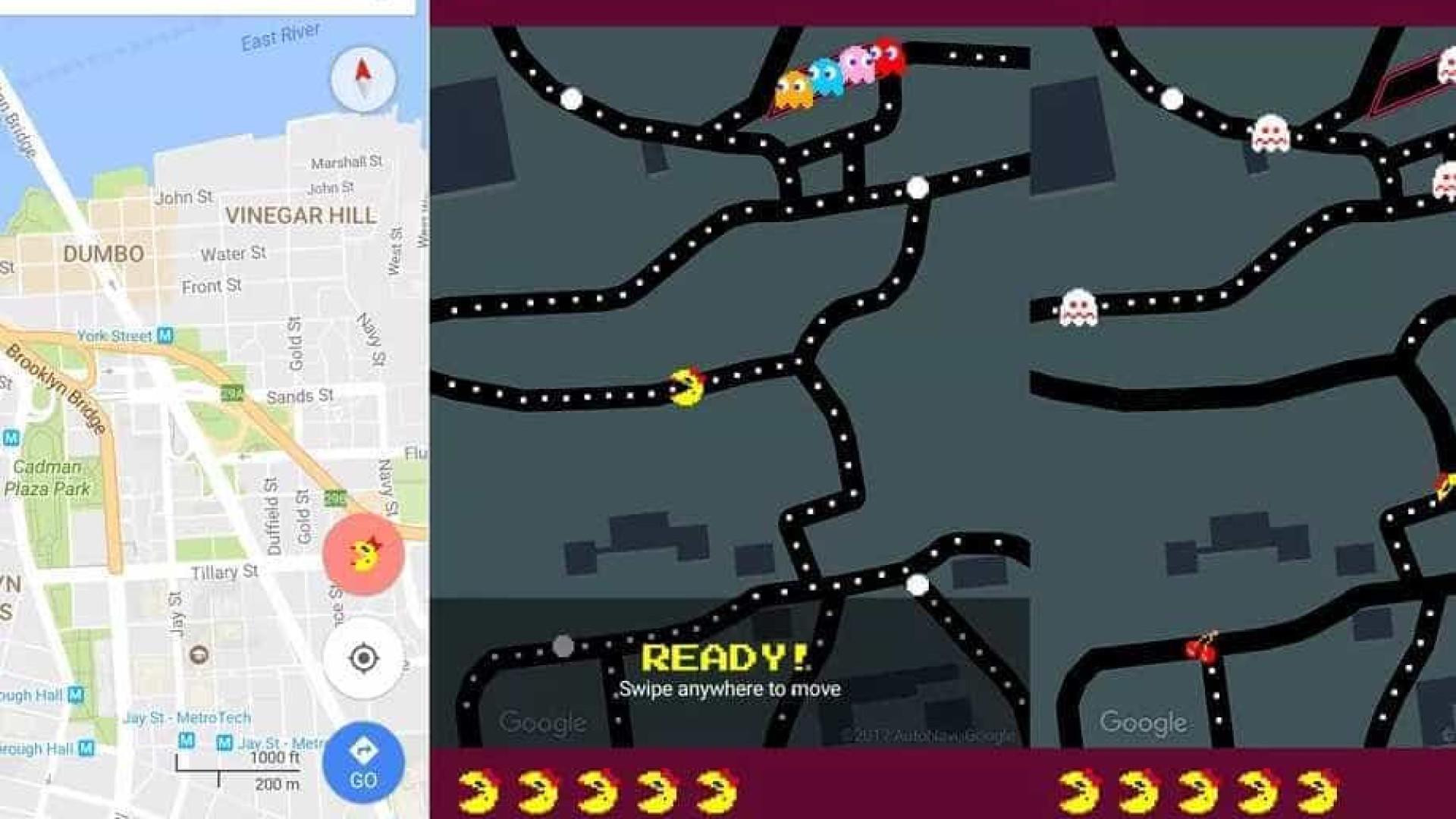 """Maps integra game """"Pac-Man"""" a  mapas do mundo; jogue"""