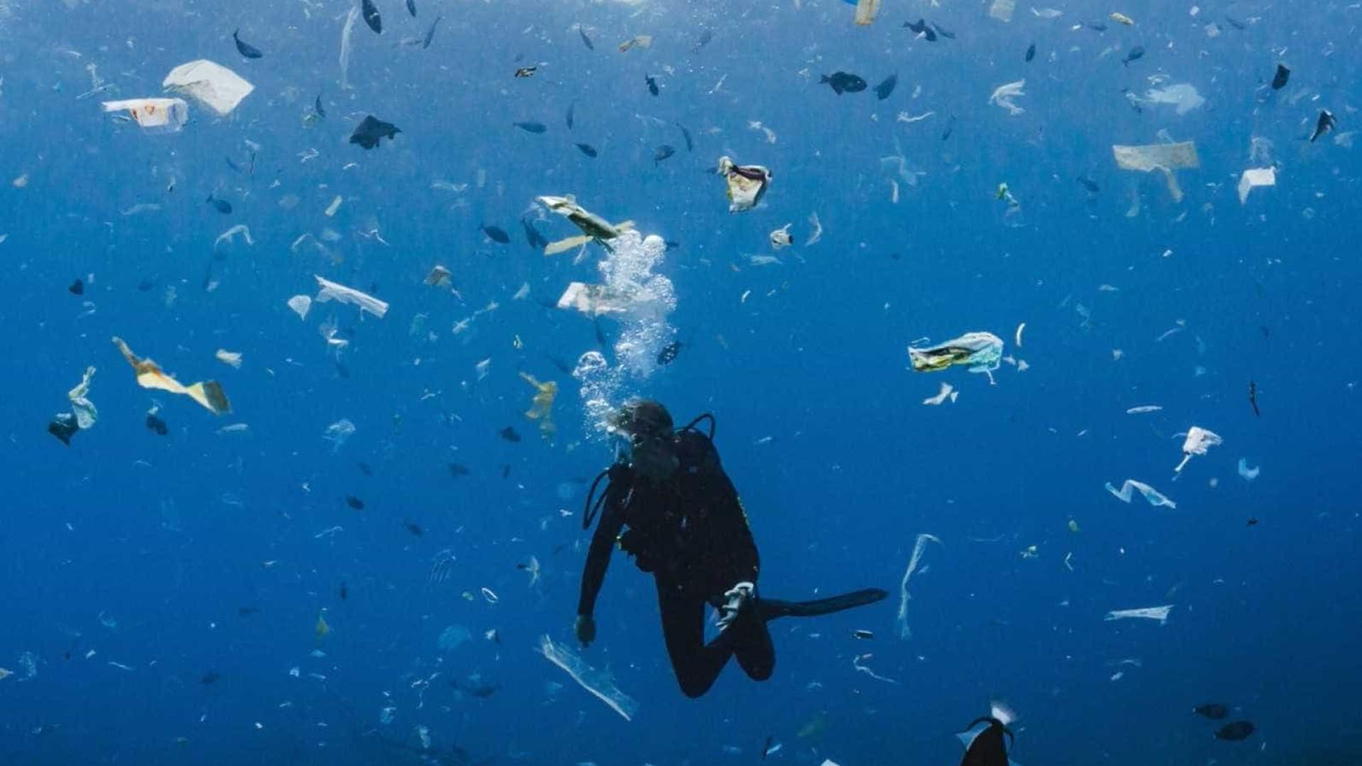 Mergulhadora nada em oceano de lixo na Indonésia