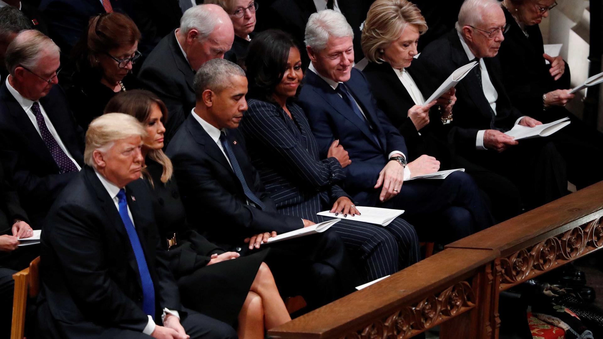 Funeral de George H. W. Bush reúne Trump, Clinton e Obama