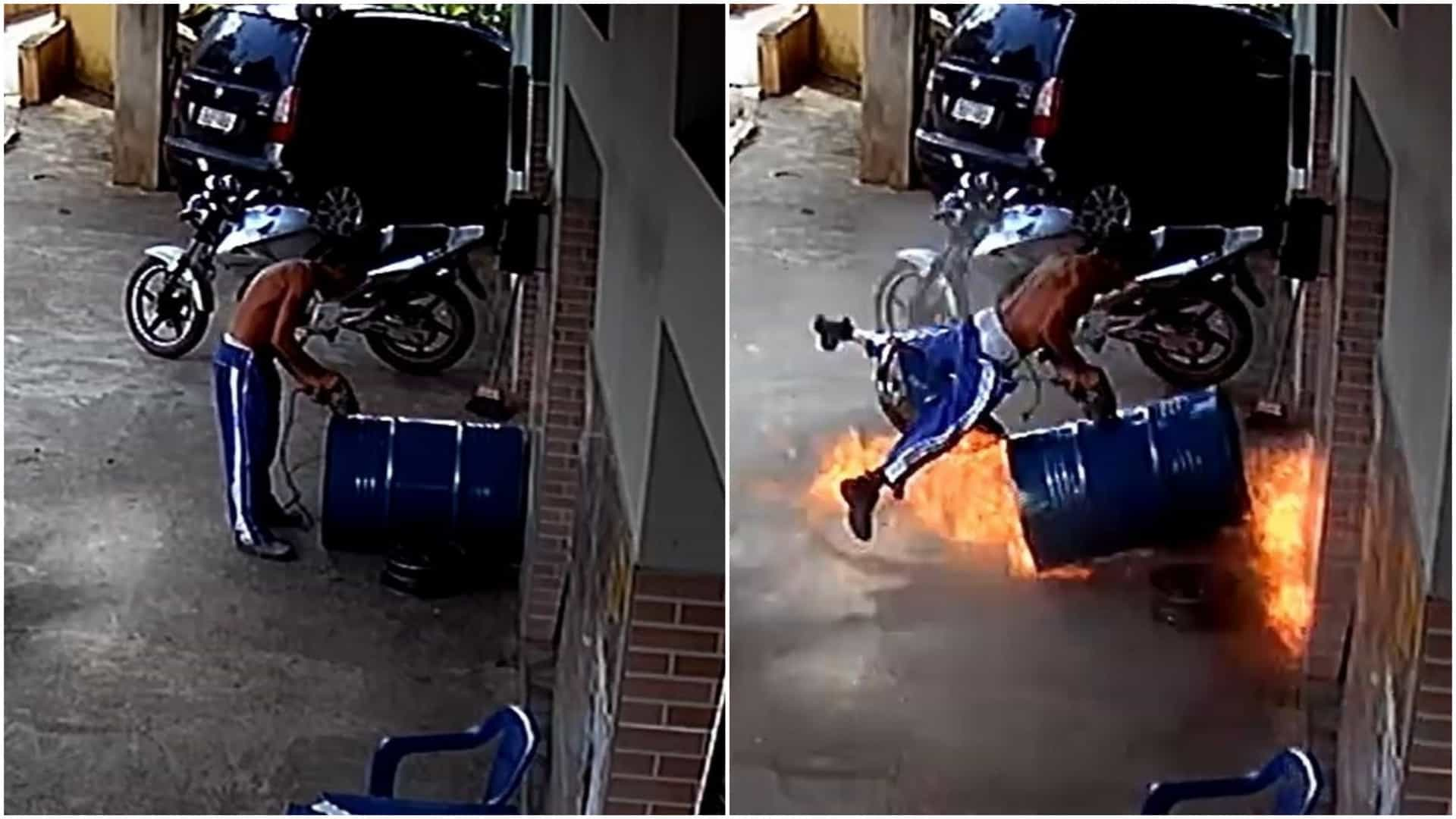Jovem usa barril para fazer churrasqueira e provoca explosão