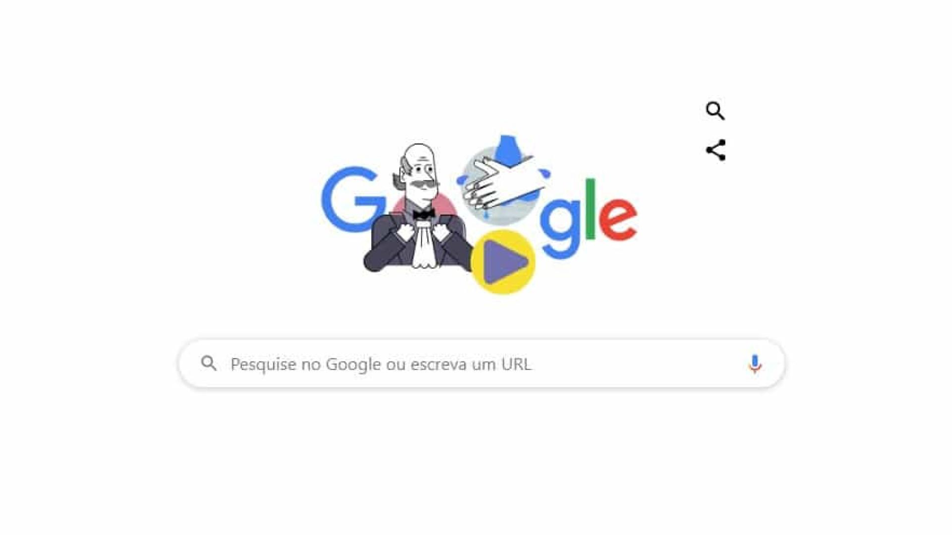 Doodle do Google homenageia médico que ensinou de lavar as mãos