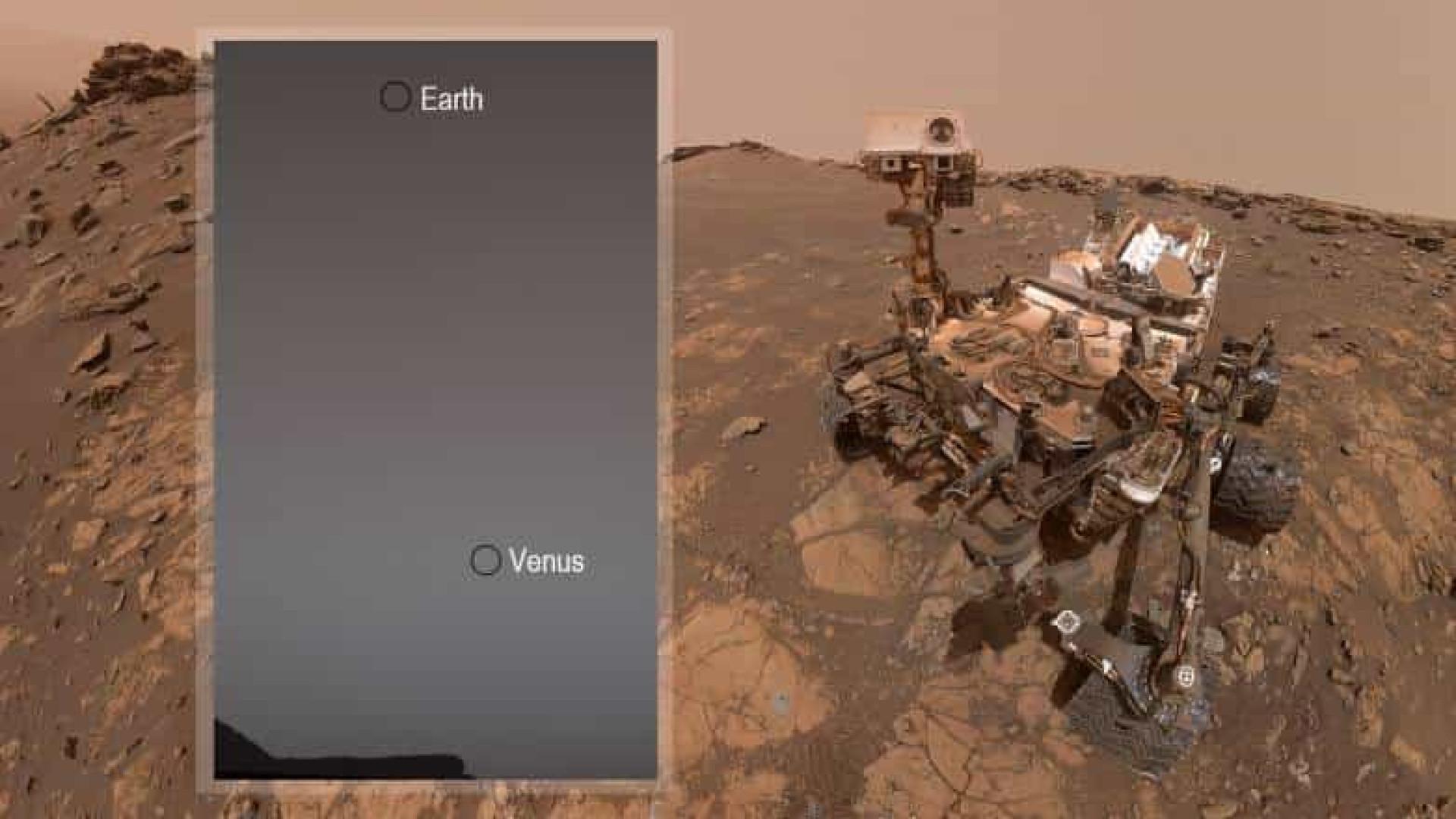 Rover de Marte capta fotografia com Terra e Vênus