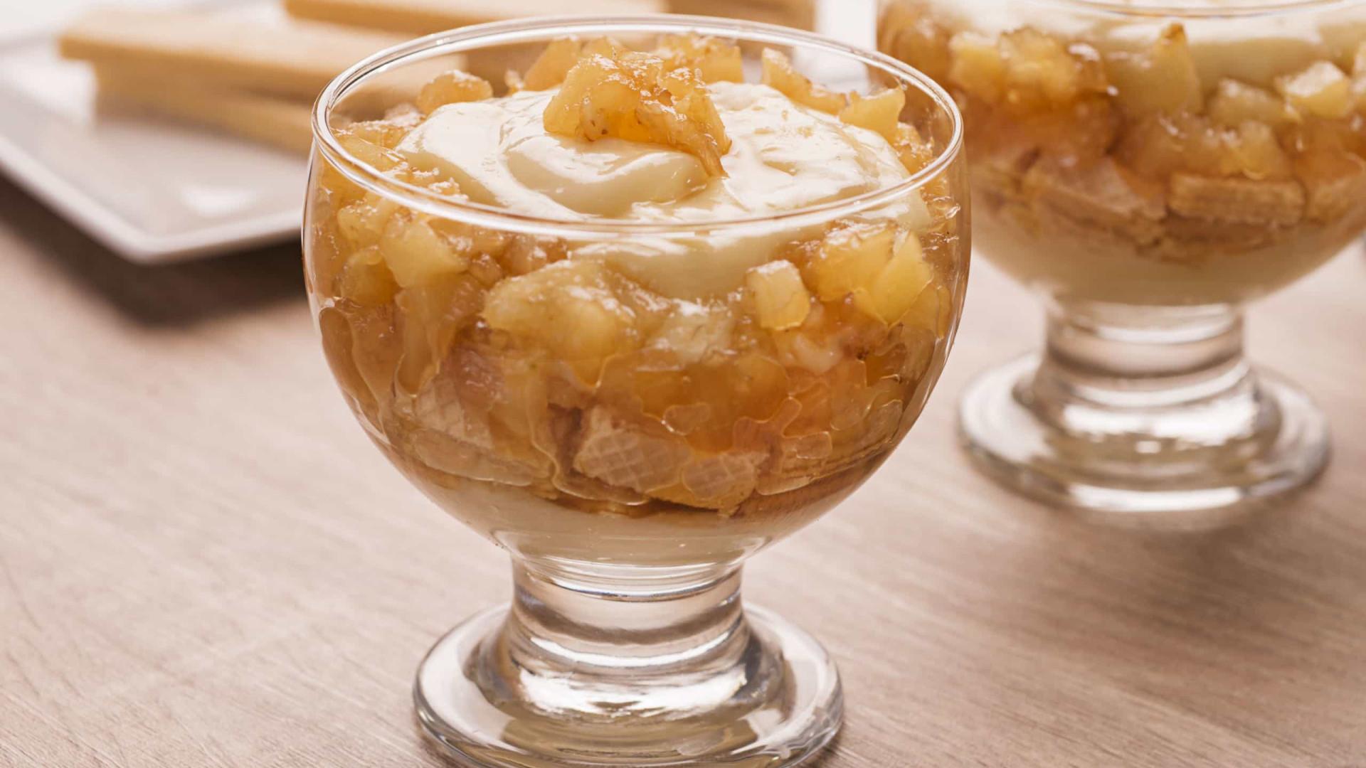 Sobremesa: Pavê de abacaxi com Biscoito Wafer
