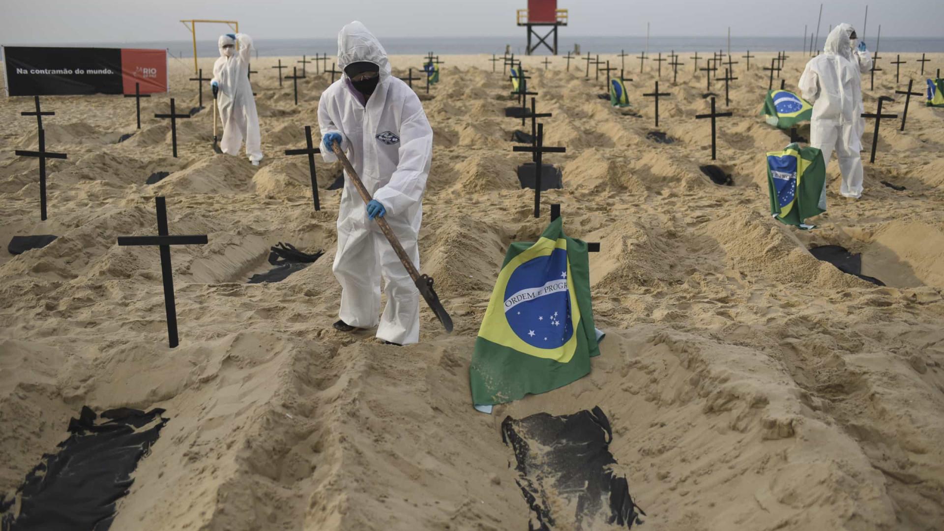 Brasil atinge maior média de mortes da pandemia neste domingo, com 1.105 vítimas