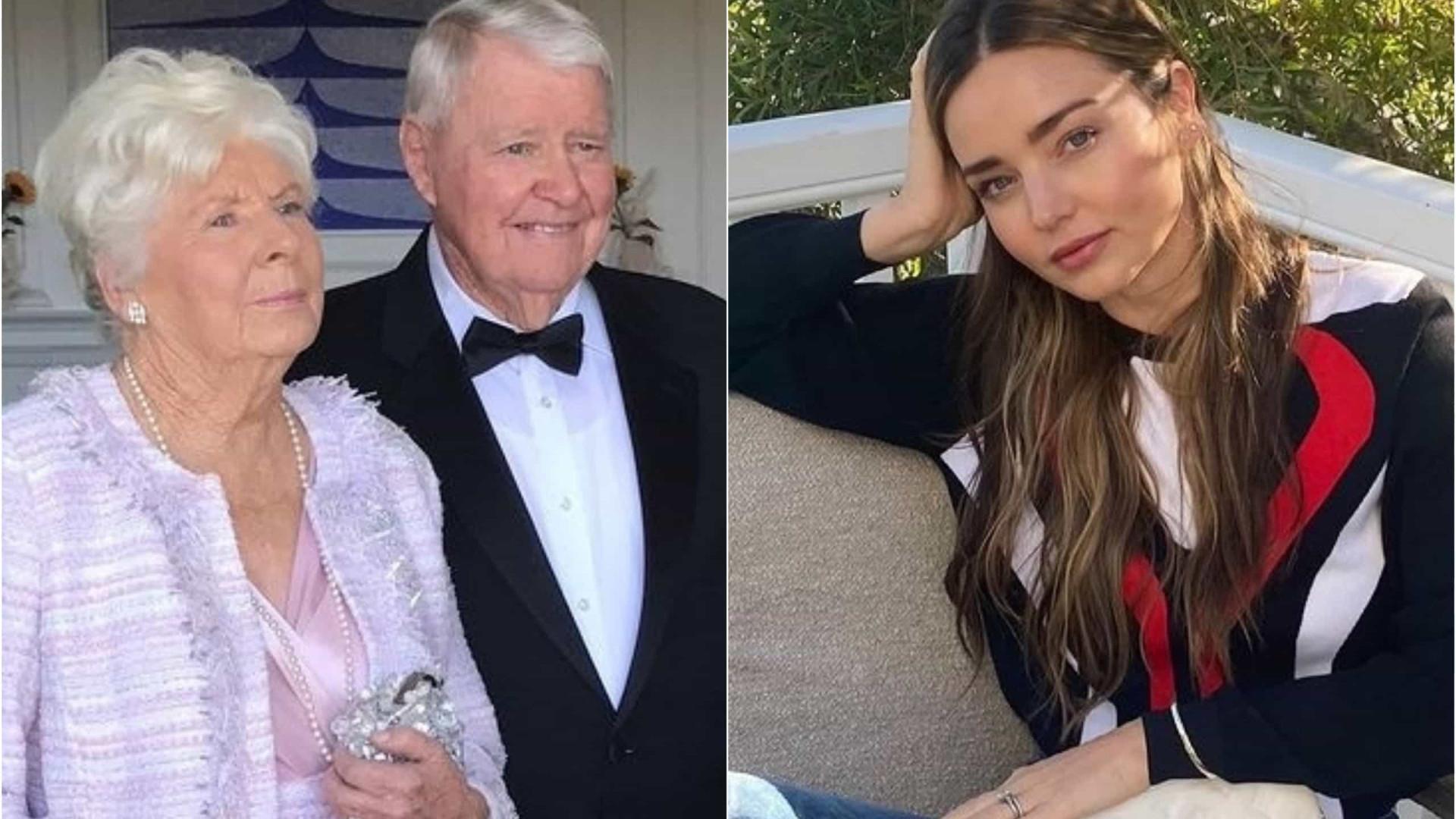 Miranda Kerr chora morte da avó uma semana após funeral do avô