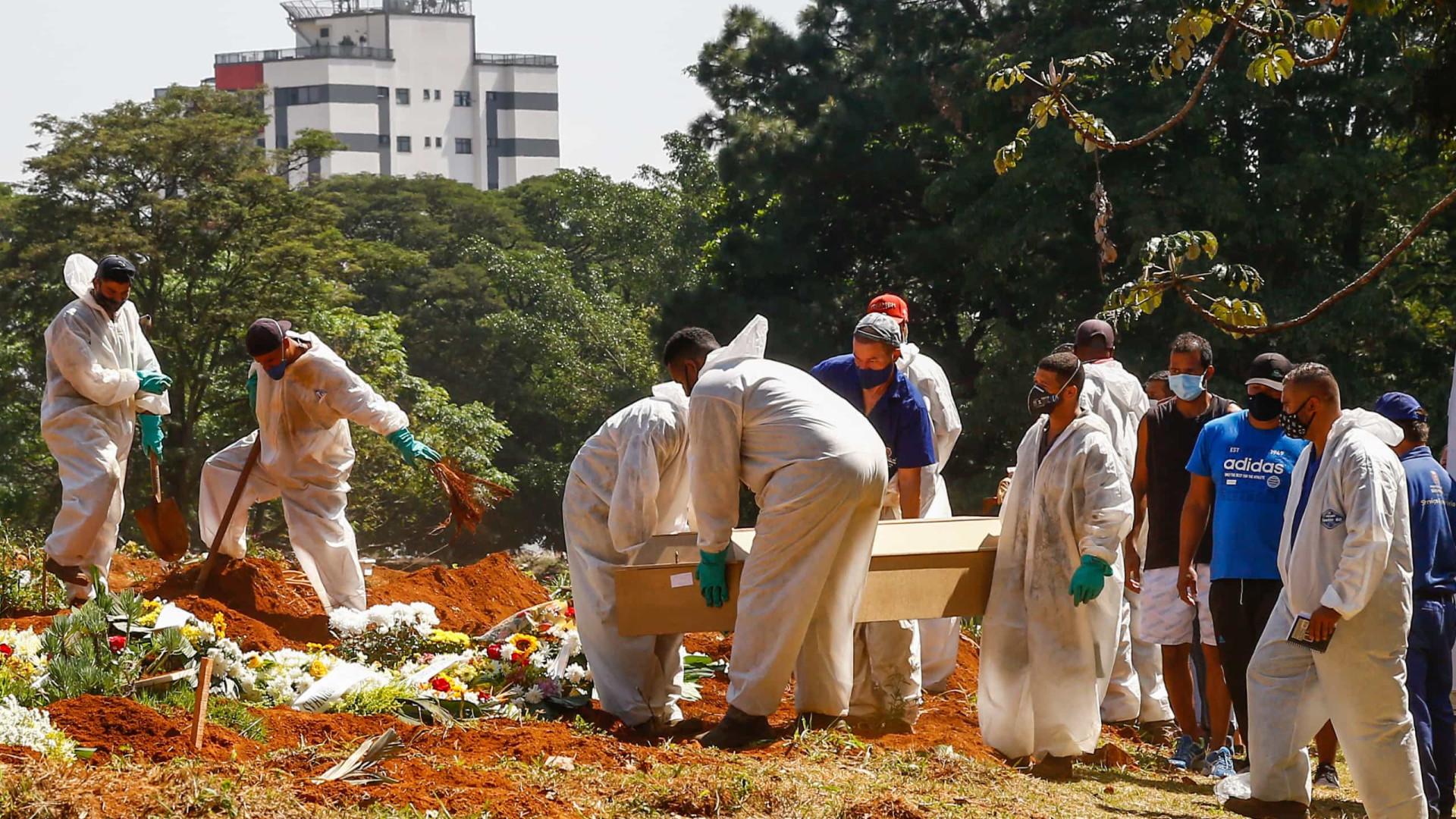 Brasil tem 9º dia com média de mortes acima de 2,5 mil óbitos