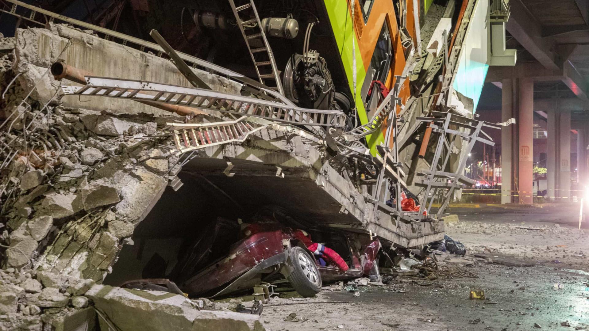 Desabamento de viaduto derruba metrô e deixa ao menos 23 mortos no Méxic