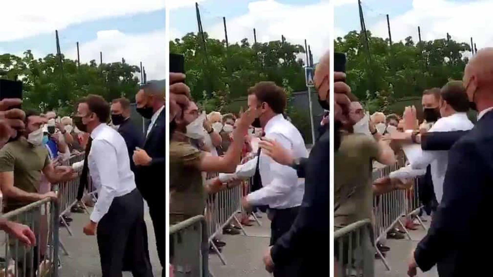 Macron leva tapa na cara de manifestante em visita ao sul da França