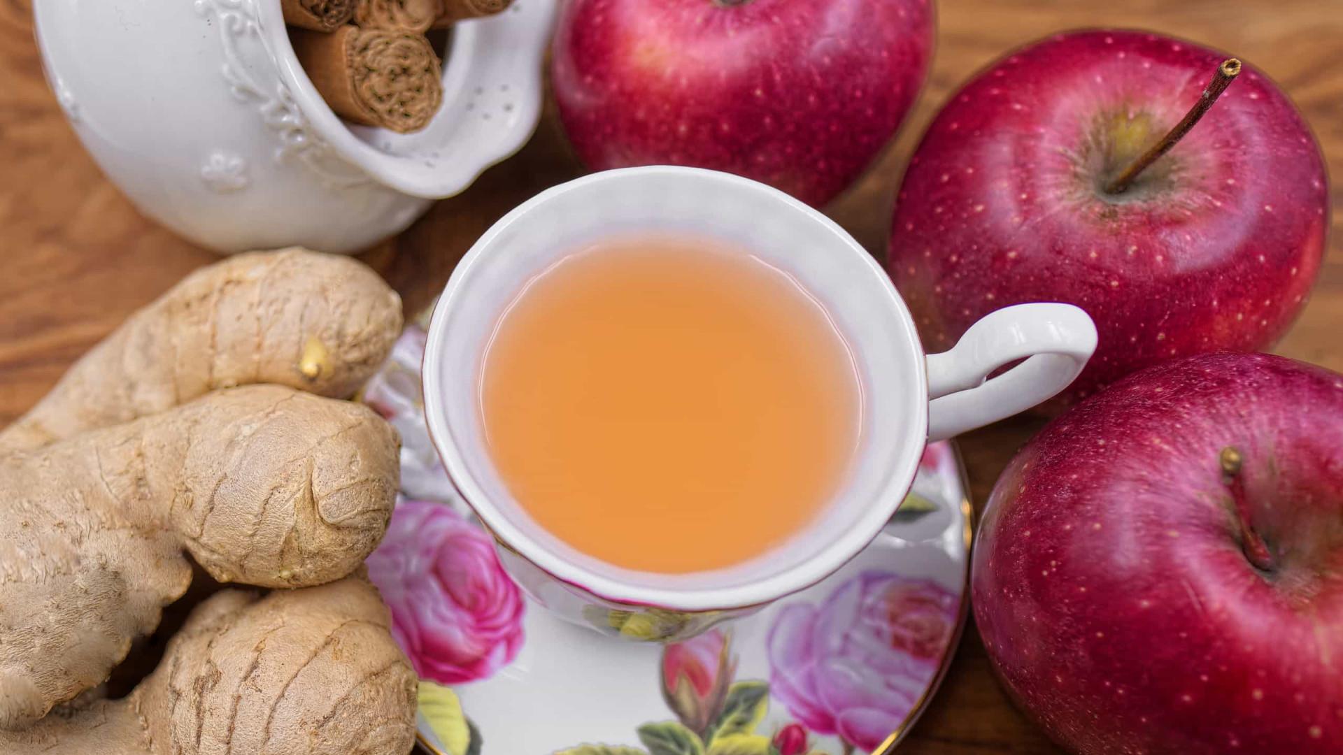 O chá de maçã e gengibre que acelera o metabolismo e emagrece