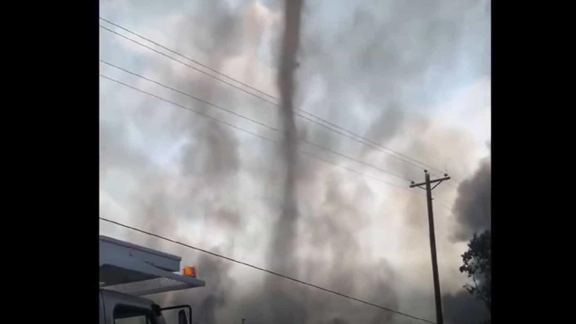 Vídeo flagra 'tornado de fumaça' em incêndio no Alabama