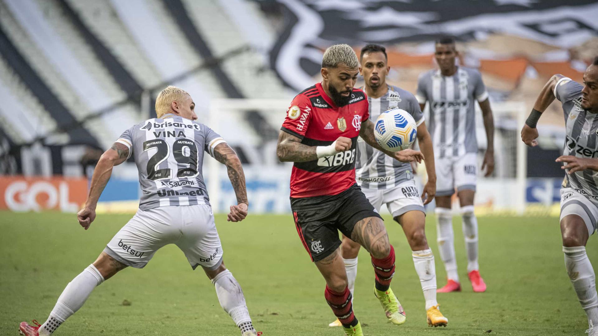 Flamengo empata em 1 a 1 com o Ceará e dorme no G-4 do Brasileiro