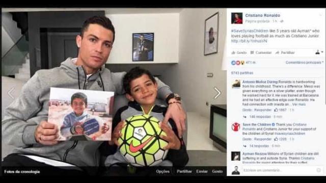 Acompanhado do filho, Cristiano Ronaldo mostra apoio aos refugiados