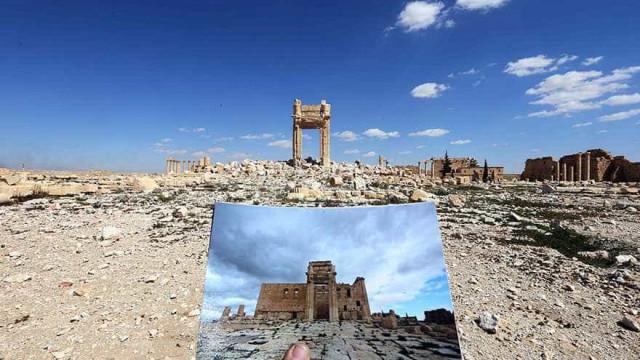 Fotos mostram o antes e o depois de sítios históricos tomados pelo EI na Síria