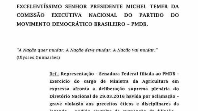 Geddel diz que pedido de expulsão da ministra Kátia Abreu está pronto