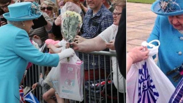 Rainha mostra estranheza ao ganhar presente  em saco de plástico