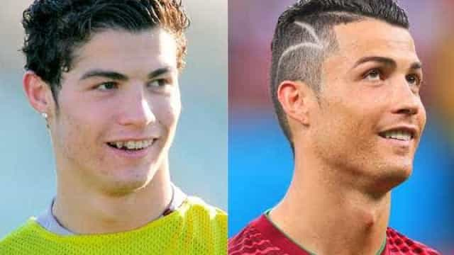 Os diferentes looks de Cristiano Ronaldo ao longo do tempo