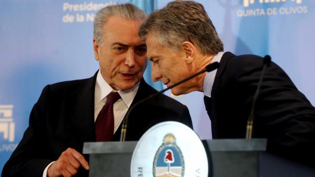 Após convite de Temer,  presidente da Argentina virá ao Brasil