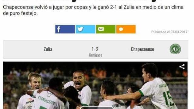Vitória da Chapecoense na Libertadores é notícia mundo afora; confira