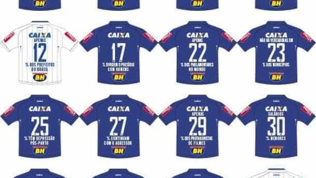 Camisas do Cruzeiro terão números da violência contra as mulheres