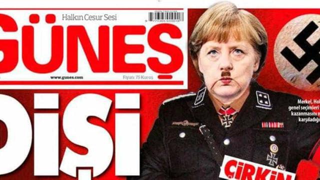 Nazistas outra vez: jornal turco  representa Merkel como 'Frau Hitler'