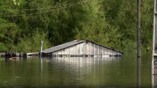 Chuva transborda rios e deixa  municípios do AM emergência