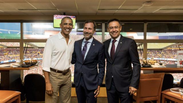 Obama foi ao estádio e viu gol de Neymar na vitória sobre o United