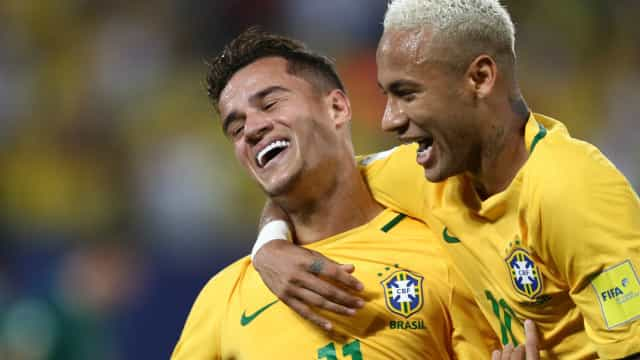 Neymar e Coutinho: seleção brasileira terá dupla de R$ 1,48 bilhão