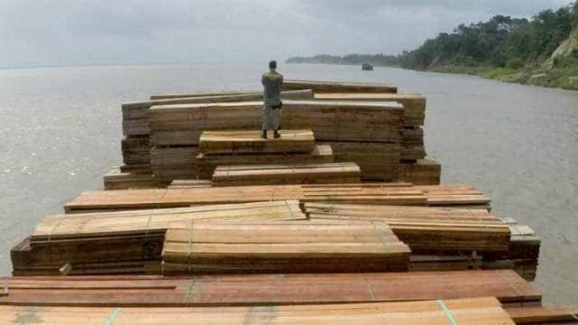 Operação conjunta apreende balsa com madeira ilegal no rio Amazonas