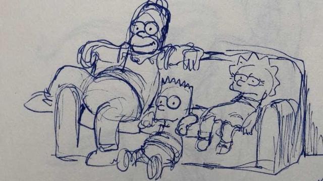 Animador revela esboços de bastidores de 'Os Simpsons'