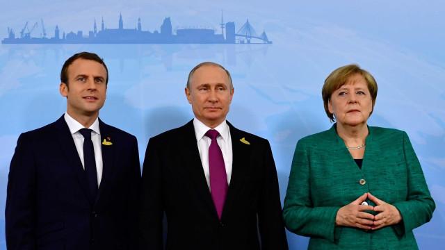 Macron e Merkel discutem com Putin cessar-fogo na Síria