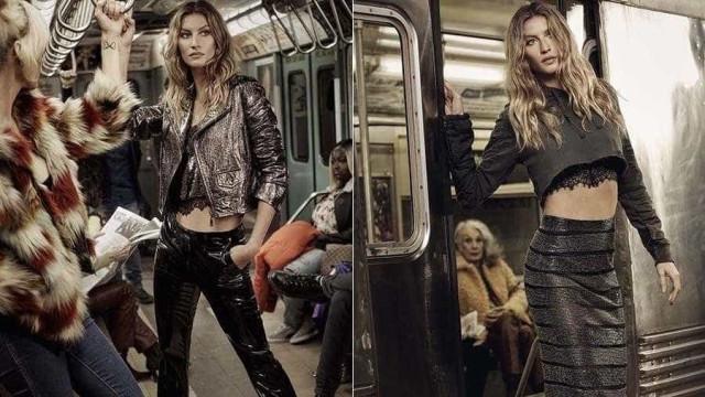 Gisele Bündchen posa como estrela do rock para marca de moda