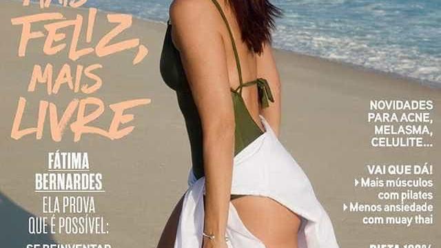 De maiô, Fátima Bernardes aparece deslumbrante em capa de revista