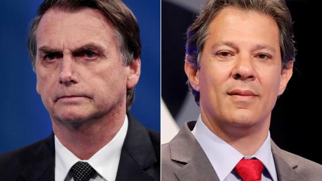 Na cidade de SP, Haddad aparece com 51% dos votos, e Bolsonaro, 49%